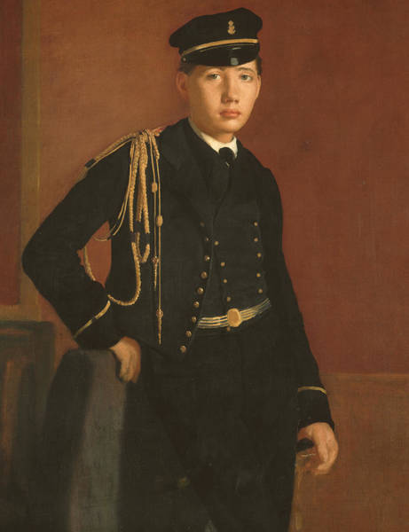 In Service Painting - Achille De Gas In The Uniform Of A Cadet by Edgar Degas