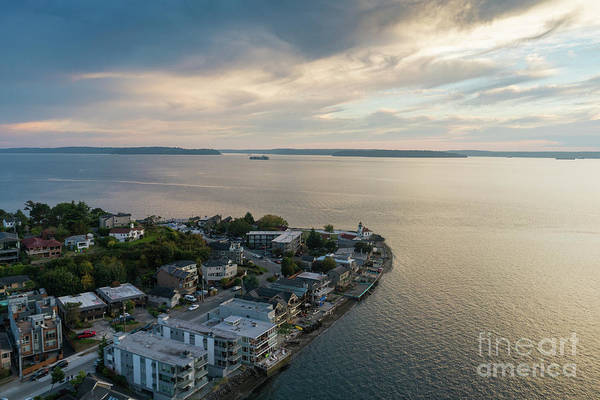 Safeco Field Photograph - Aerial Alki Point Sunset by Mike Reid