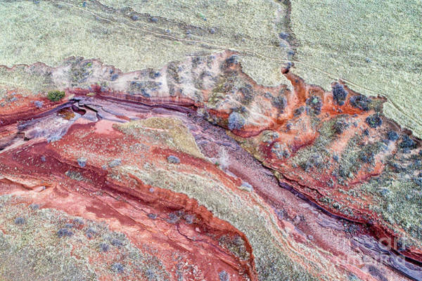 Photograph - aerial landscape abstract of Colorado foothills by Marek Uliasz