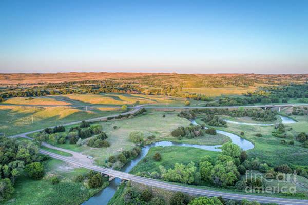 Photograph - aerial view of Dismal River in Nebraska by Marek Uliasz