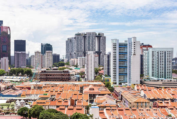 Photograph - Aerial View Of Singapore Chinatown With The Buddha Tooth Relic T by Didier Marti