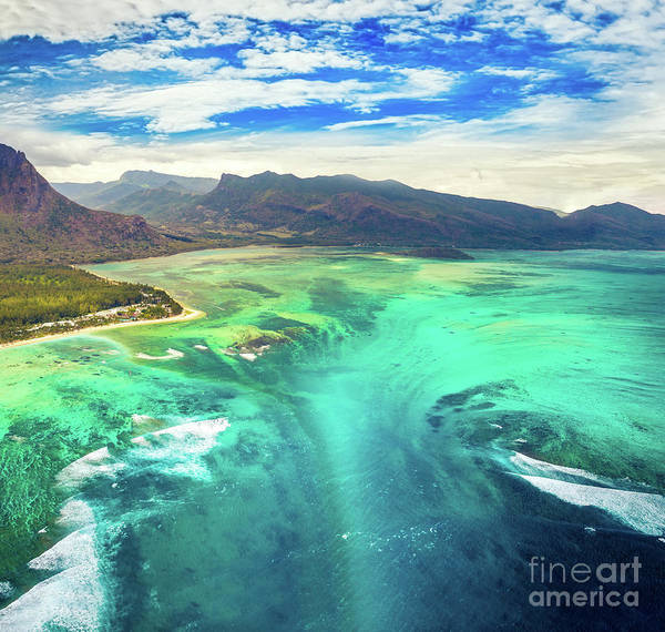 Wall Art - Photograph - Aerial View Of The Underwater Waterfall. Mauritius by MotHaiBaPhoto Prints