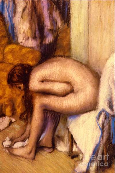 Unclothed Wall Art - Pastel - After The Bath by Edgar Degas