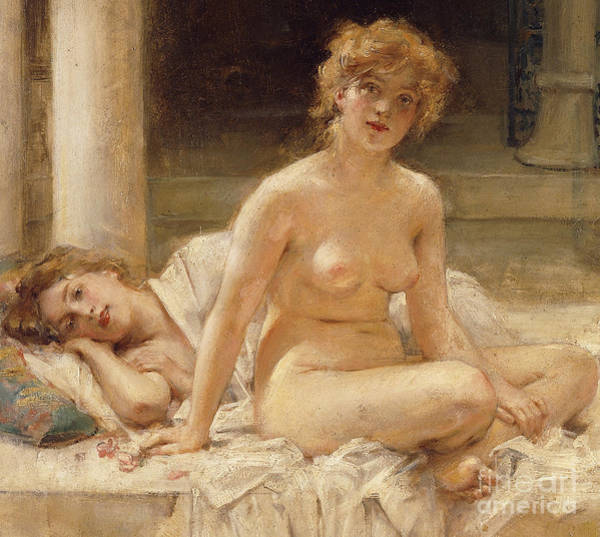 Intimate Portrait Wall Art - Painting - After The Bath by Leon Francois Comerre