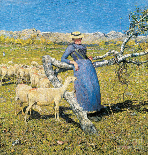 The Shepherdess Wall Art - Painting - Afternoon In The Alps by Giovanni Segantini