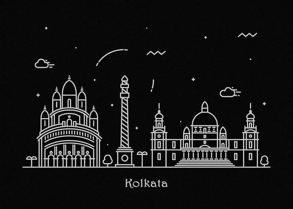 India Drawing - Kolkata Skyline Travel Poster by Inspirowl Design