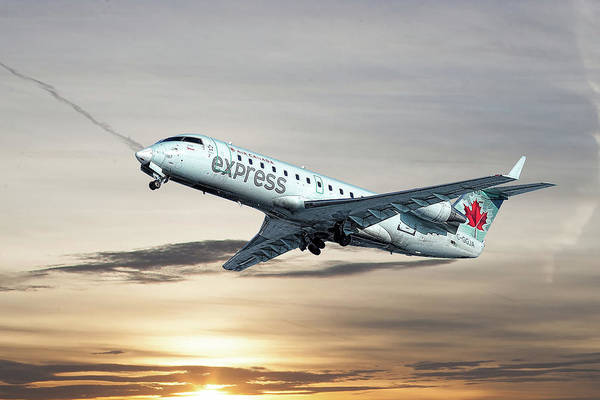 Air Canada Wall Art - Mixed Media - Air Canada Express Bombardier Crj-200 by Smart Aviation