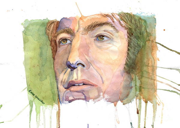 Snape Wall Art - Painting - Fan Art - Alan Rickman by Elena Schnaider