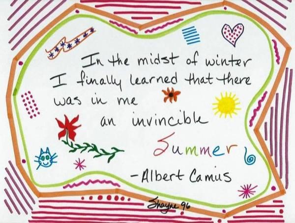 Drawing - Albert Camus Doodle Quote by Susan Schanerman