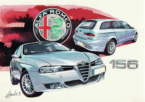 Alfa Romeo Painting - Alfa Romeo 156 Sw by Yoshiharu Miyakawa