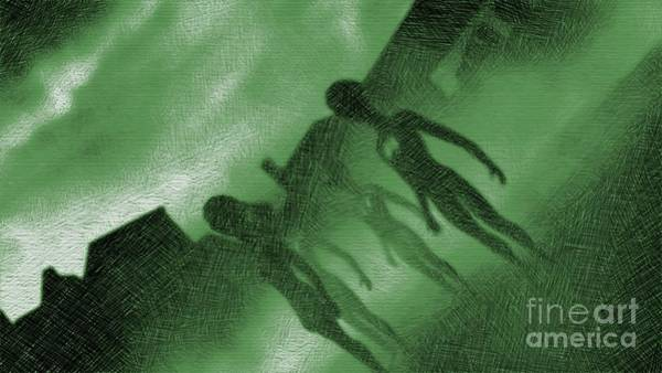 Paranormal Drawing - Aliens In Green Fog by Raphael Terra