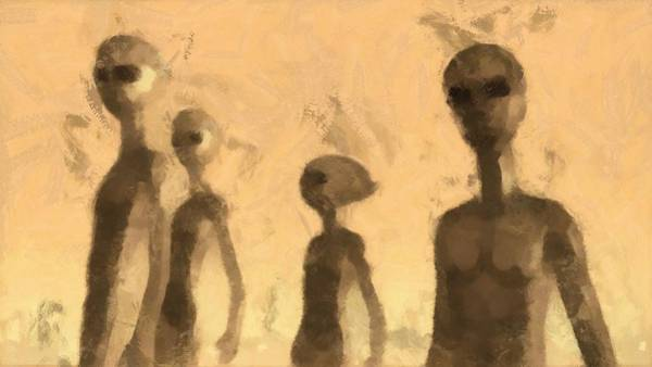 Abduction Painting - Aliens by Esoterica Art Agency