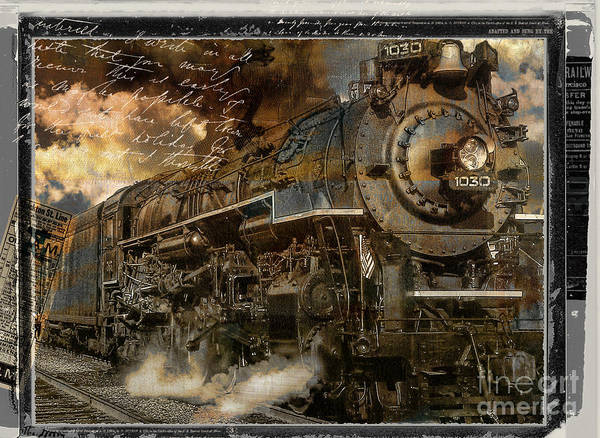 Vintage Train Painting - All Aboard by Mindy Sommers
