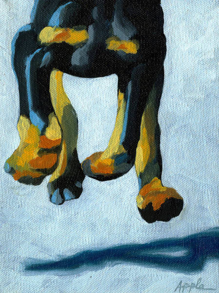Doberman Wall Art - Painting - All Fours by Linda Apple