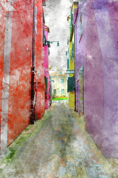 Photograph - Alley In Burano Island Venice Italy by Brandon Bourdages