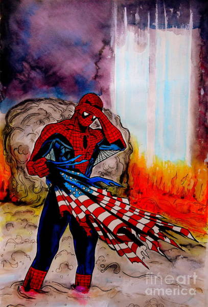 Twin Towers Drawing - Amazing Spider-man 9/11 Tribute by Justin Moore