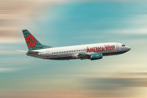 Boeing Mixed Media - America West Boeing 737-300 by Smart Aviation