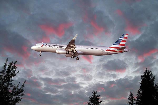 Wall Art - Digital Art - American Airlines Airbus A321 by J Biggadike