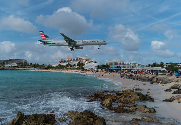 Gleeson Photograph - American Airlines Landing At St. Maarten by David Gleeson