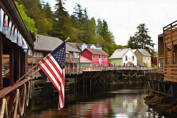 Wall Art - Photograph - American Flag On Creek Street Ketchikan Alaska Painting by Barbara Snyder