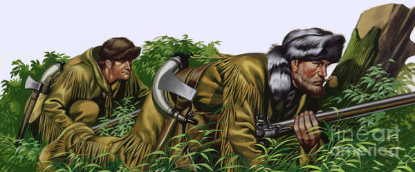 Wall Art - Painting - American Frontiersmen  by Ron Embleton