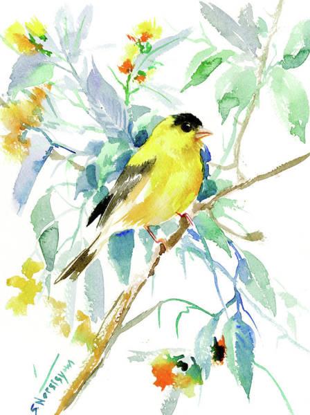 Goldfinch Wall Art - Painting - American Goldfinch by Suren Nersisyan