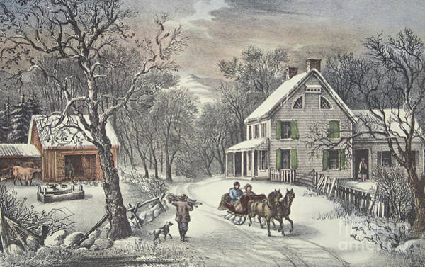 Sleigh Wall Art - Painting - American Homestead   Winter by Currier and Ives