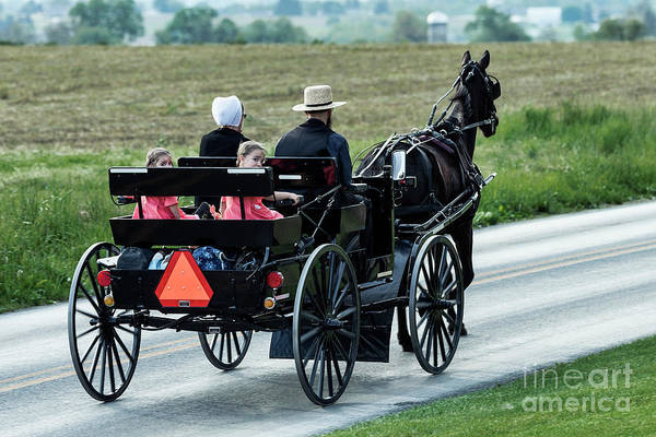 Lancaster County Photograph - Amish Family by John Greim