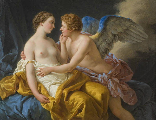 Painting - Amor And Psyche by Louis-Jean-Francois Lagrenee