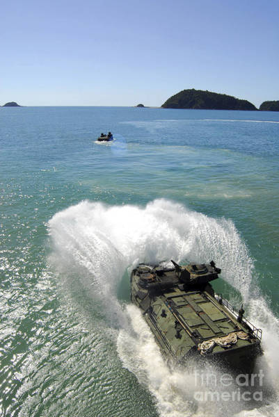 Amphibious Assault Ship Wall Art - Photograph - Amphibious Assault Vehicles Exit by Stocktrek Images