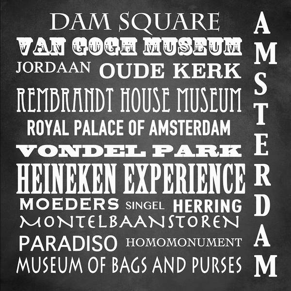 Holland Digital Art - Amsterdam Famous Landmarks by Patricia Lintner
