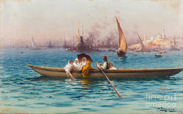 Fausto Zonaro Painting - Amusement On The Caique by Celestial Images