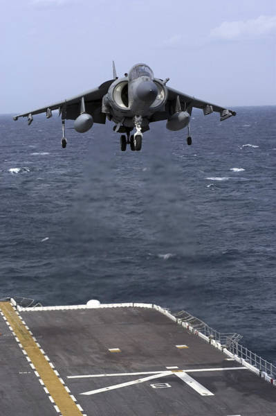 Landing Gear Photograph - An Av-8b Harrier II Prepares To Land by Stocktrek Images