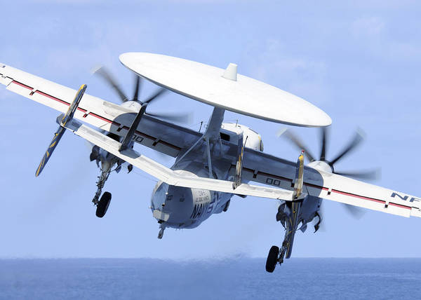 Uss George Washington Wall Art - Photograph - An E-2c Hawkeye Launches by Stocktrek Images