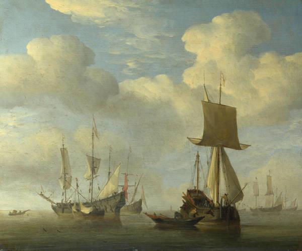 Ocean Scape Painting - An English Vessel And Dutch Ships Becalmed by Willem van de Velde