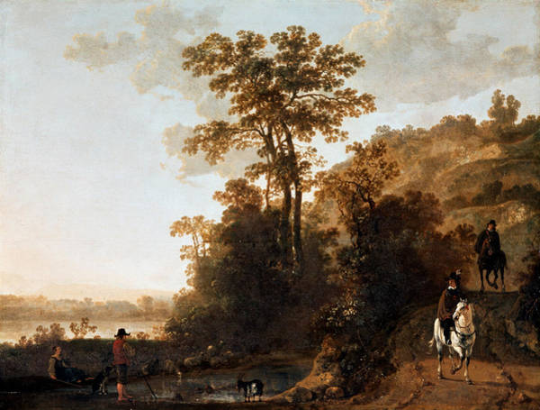 Cuyp Wall Art - Painting - An Evening Ride Near A River by Aelbert Cuyp