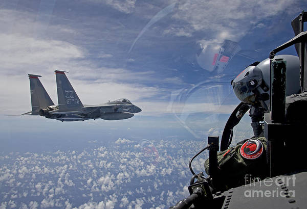 Aerial Combat Photograph - An F-15 Eagle Pilot Flies In Formation by HIGH-G Productions