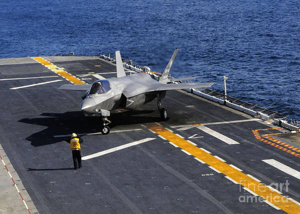Flight Deck Photograph - An F-35b Lightning II Makes A Vertical by Stocktrek Images
