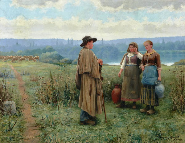 Sickle Painting - An Idle Moment by Daniel Ridgway Knight
