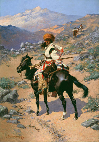 Whip Painting - An Indian Trapper by Frederic Remington