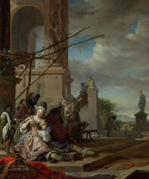 Portico Painting - An Italian Courtyard by Jan Weenix