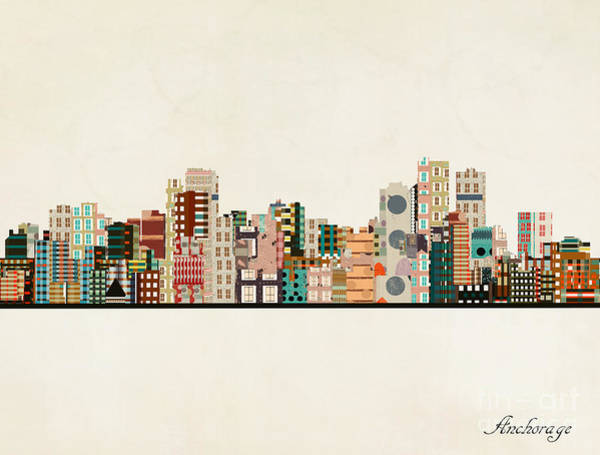 Anchorage Alaska Skyline Art Print