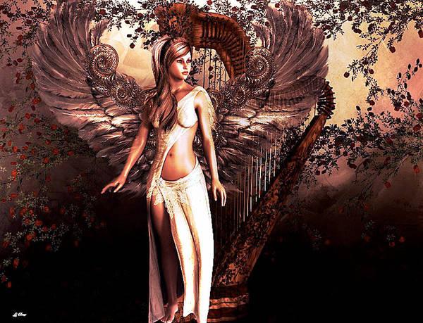 Harp Mixed Media - Angelic Harp by G Berry