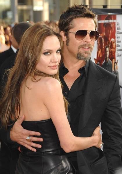 Goatee Photograph - Angelina Jolie, Brad Pitt At Arrivals by Everett