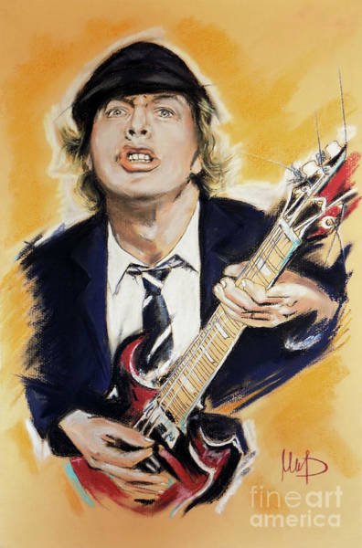 Ac Dc Wall Art - Painting - Angus Young 1 by Melanie D
