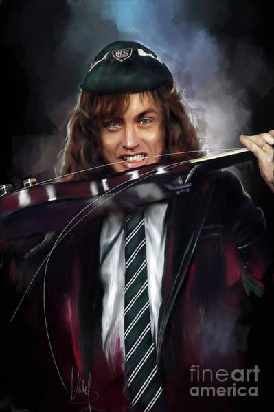 Ac Dc Wall Art - Painting - Angus Young by Melanie D
