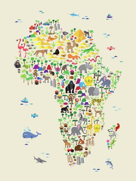Digital Art - Animal Map Of Africa For Children And Kids by Michael Tompsett