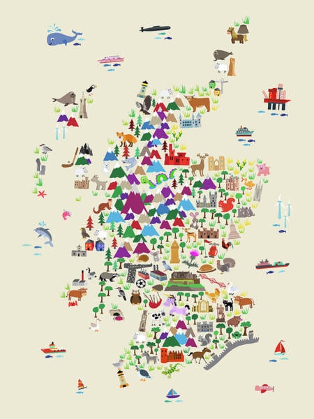 Digital Art - Animal Map Of Scotland For Children And Kids by Michael Tompsett