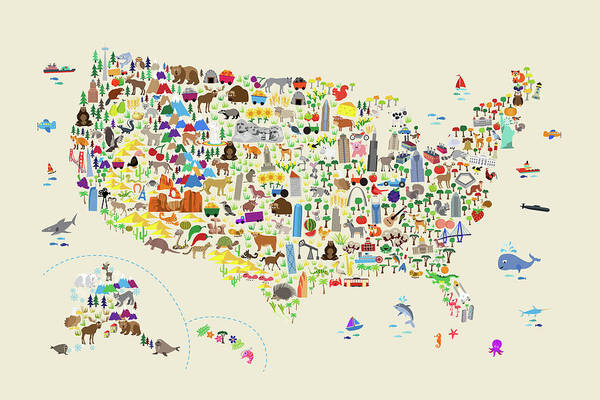 Digital Art - Animal Map Of United States For Children And Kids by Michael Tompsett
