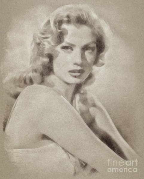 Pinewood Drawing - Anita Ekberg, Hollywood Legend By John Springfield by John Springfield